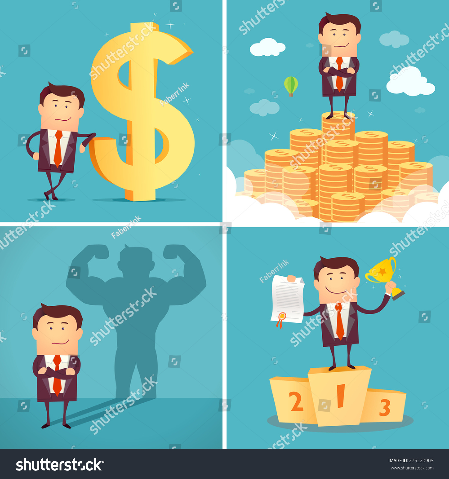 Set of businessman characters standing on the winning podium holding up winning trophy standing on the huge money staircase with dollar sign casting strong man shadow Successful concept Vector