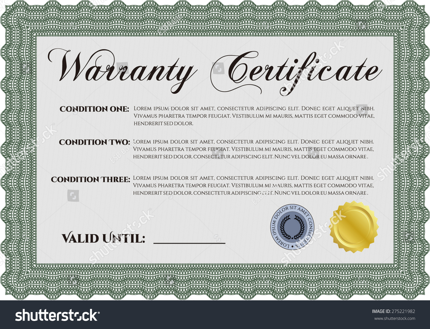 Sample Warranty Certificate Complex Border Design Stock Vector ...