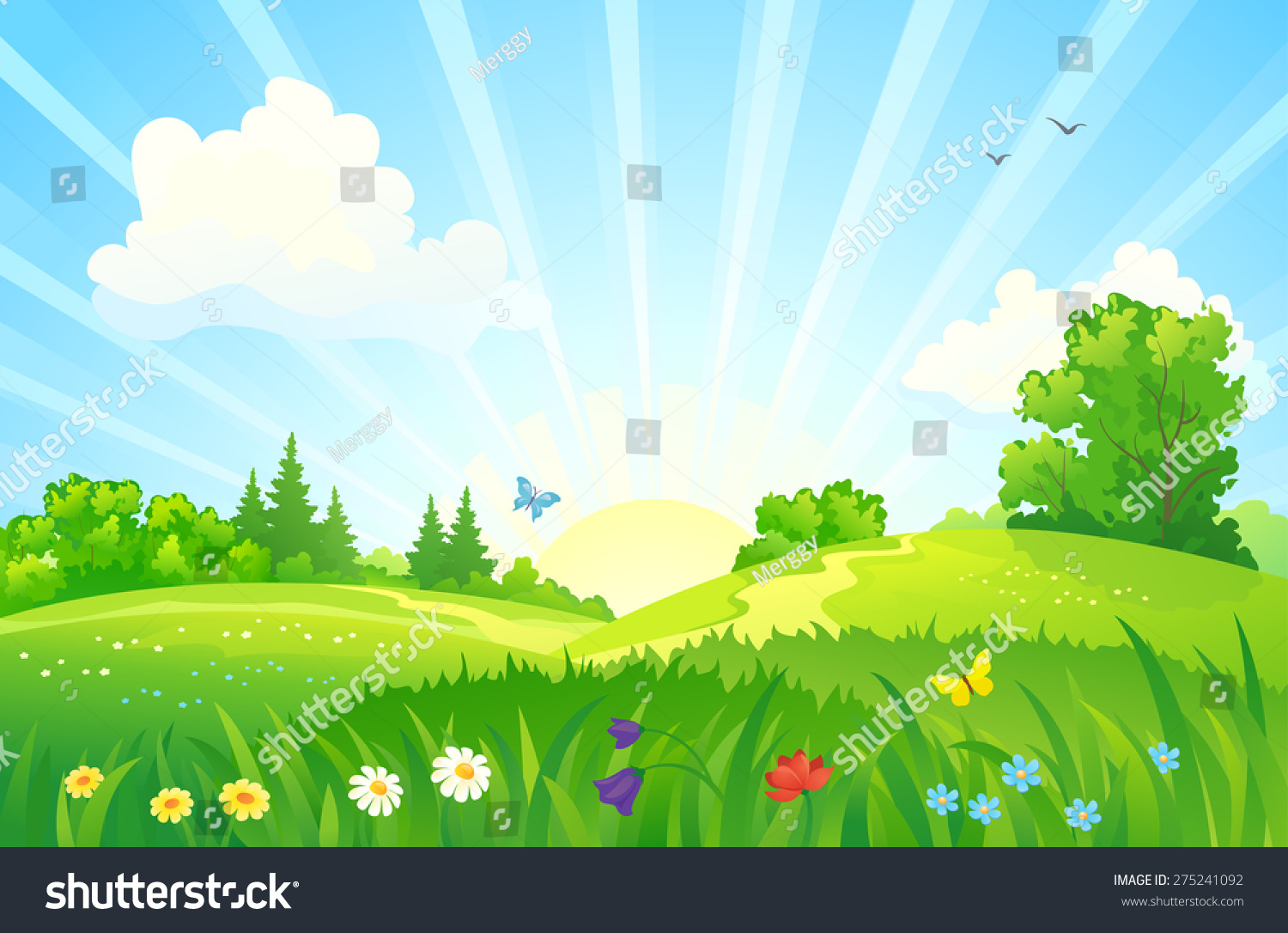 Vector illustration of a beautiful summer sunrise landscape #275241092