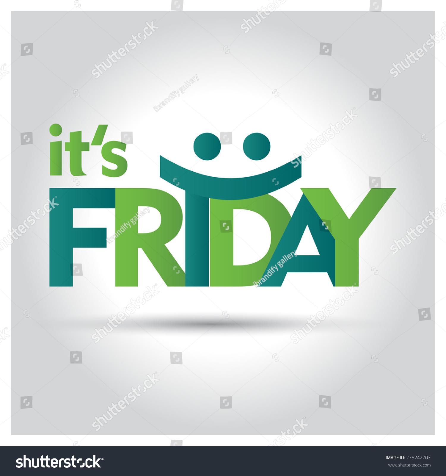 Friday Creative Green Typography Smiley Face Stock Vector Royalty