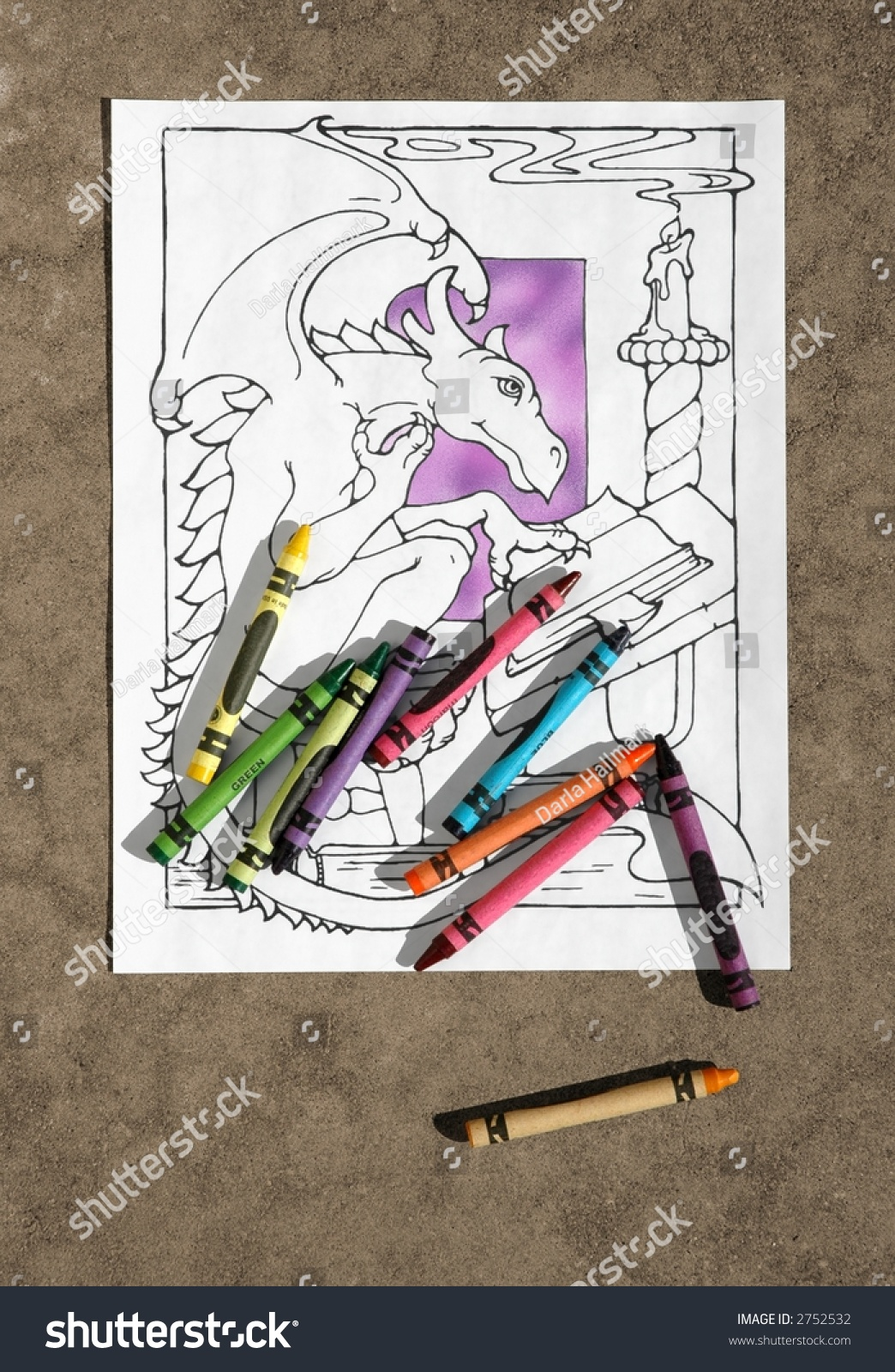 Scattered Crayons Coloring Book Page Stock Photo (Royalty Free ...