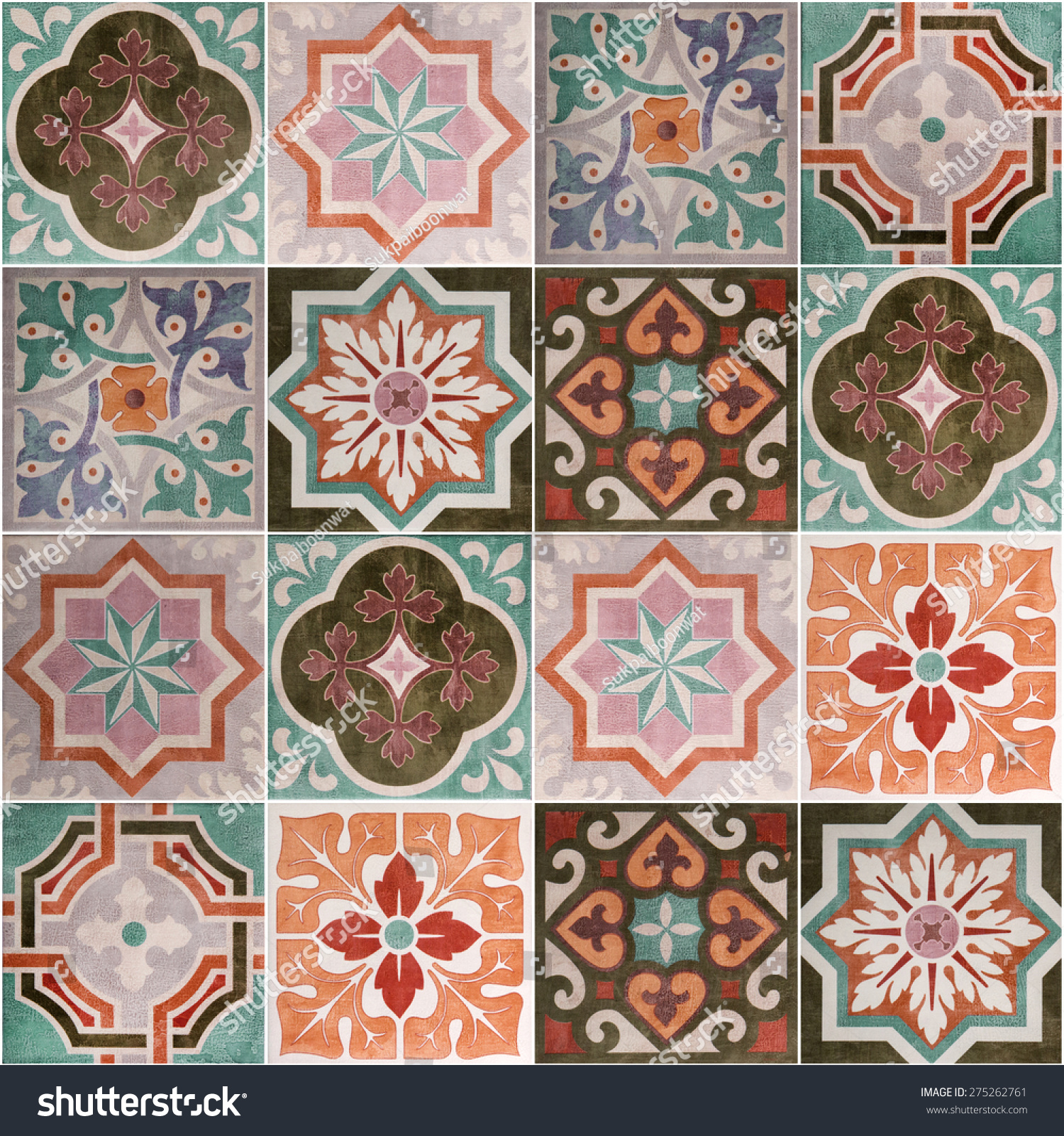 Ceramic Tiles Patterns From Portugal Stock Photo