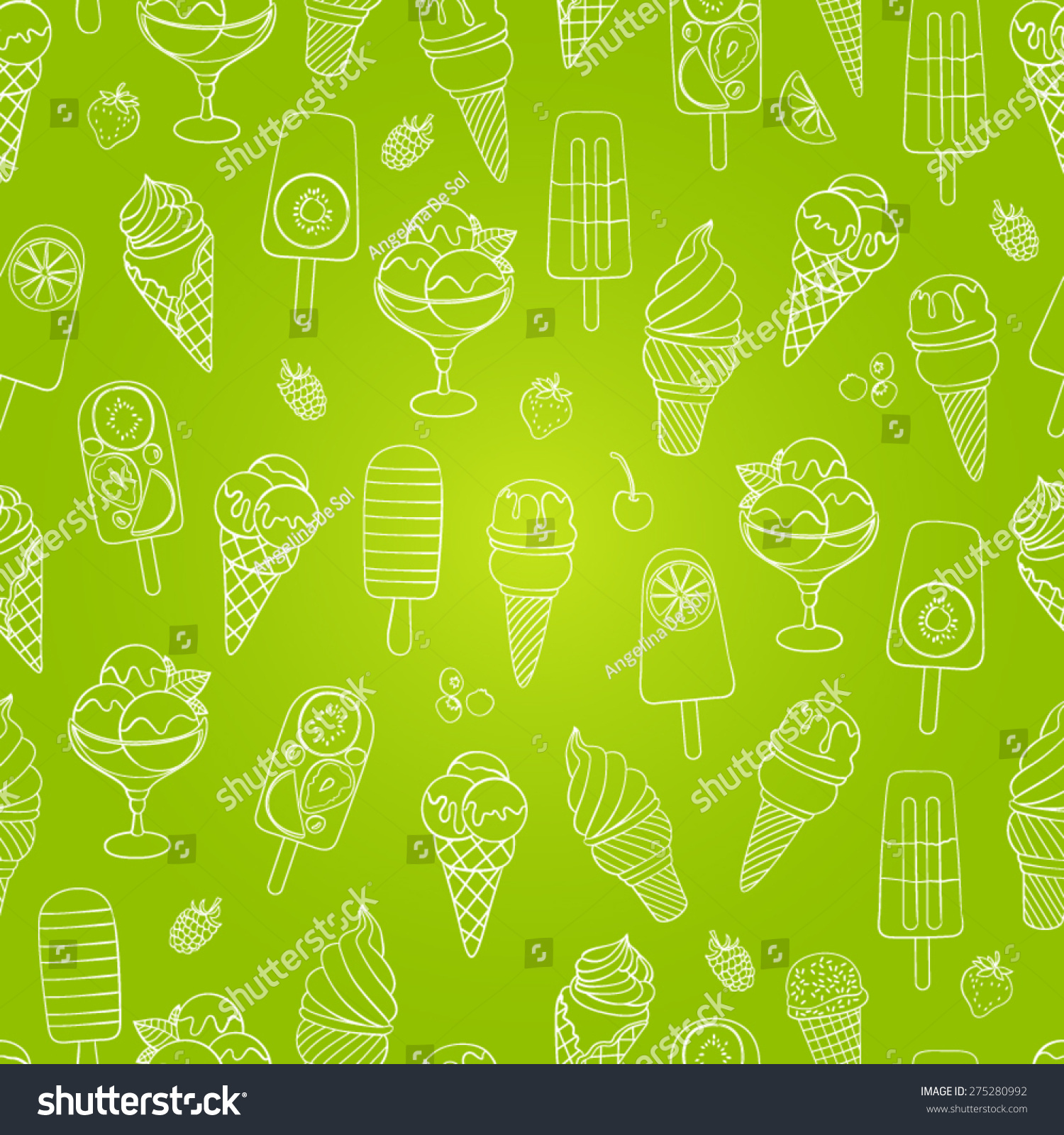 Seamless Ice Cream Background: Cute Seamless Ice Cream Pattern Vector Stock Vector