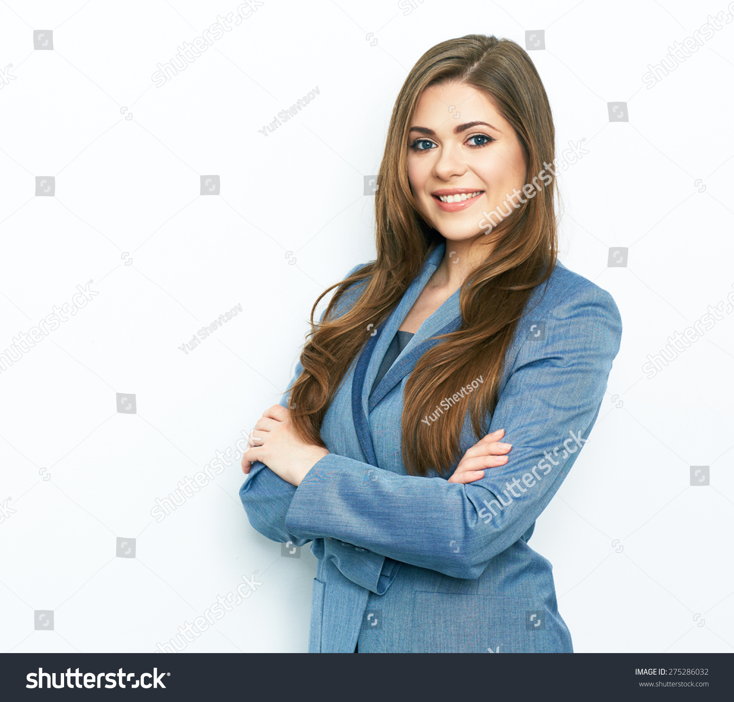 Smiling Business Woman Blue Suit Dressed Stock Photo ...