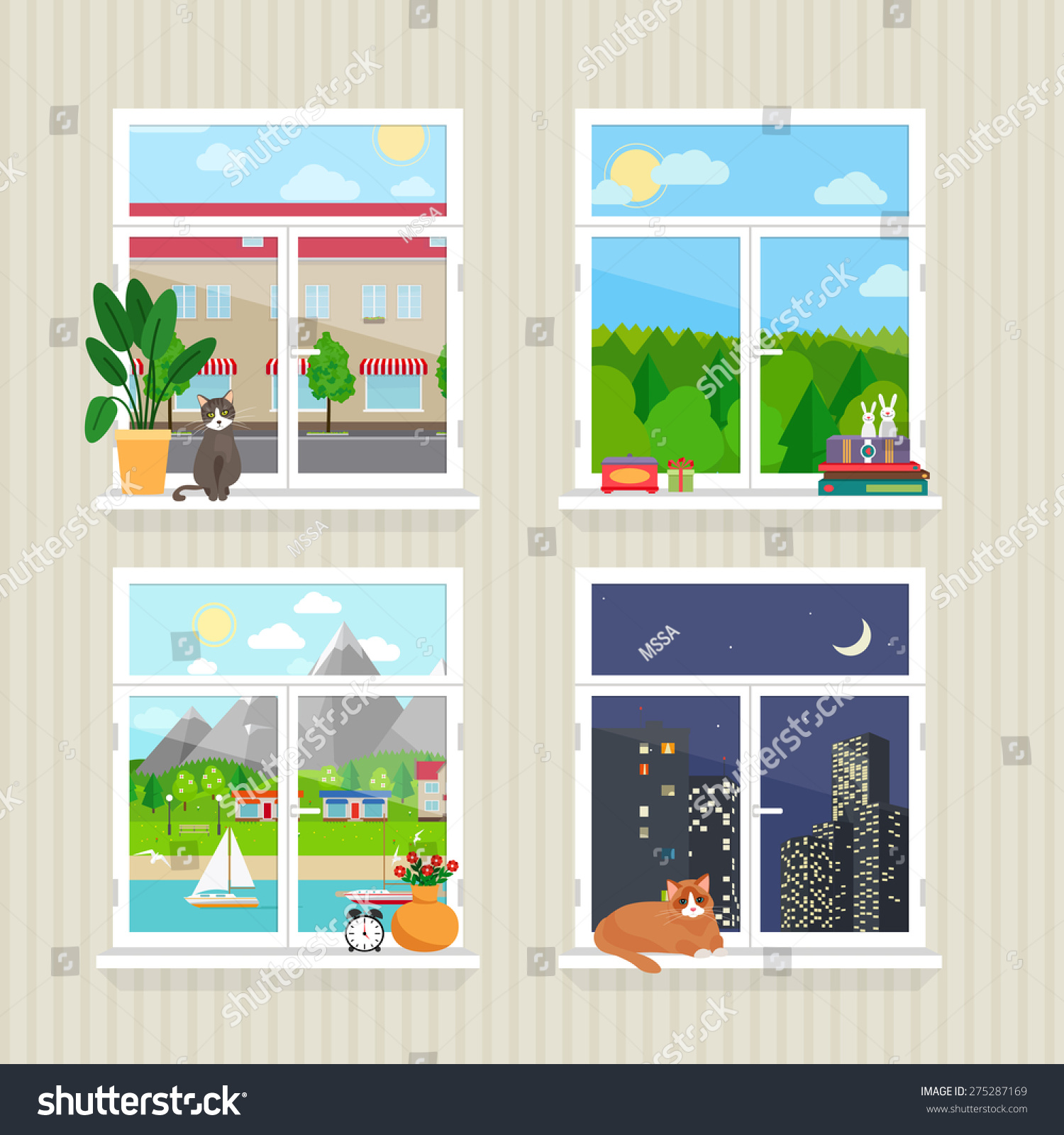 vector flat windows landscape town skyscraper stock vector 275287169