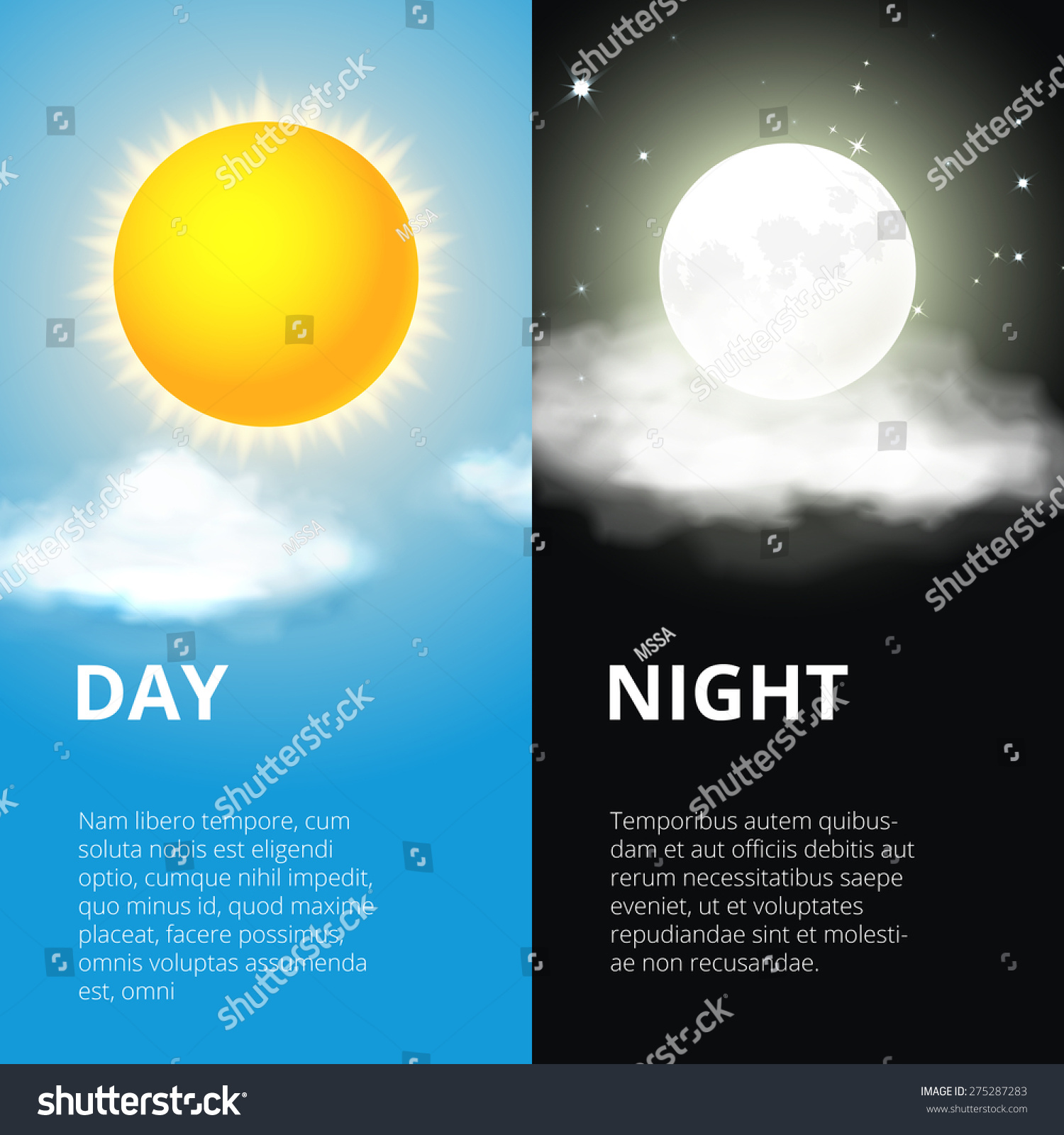 day night sun moon sky weather stock vector 275287283 shutterstock. Black Bedroom Furniture Sets. Home Design Ideas