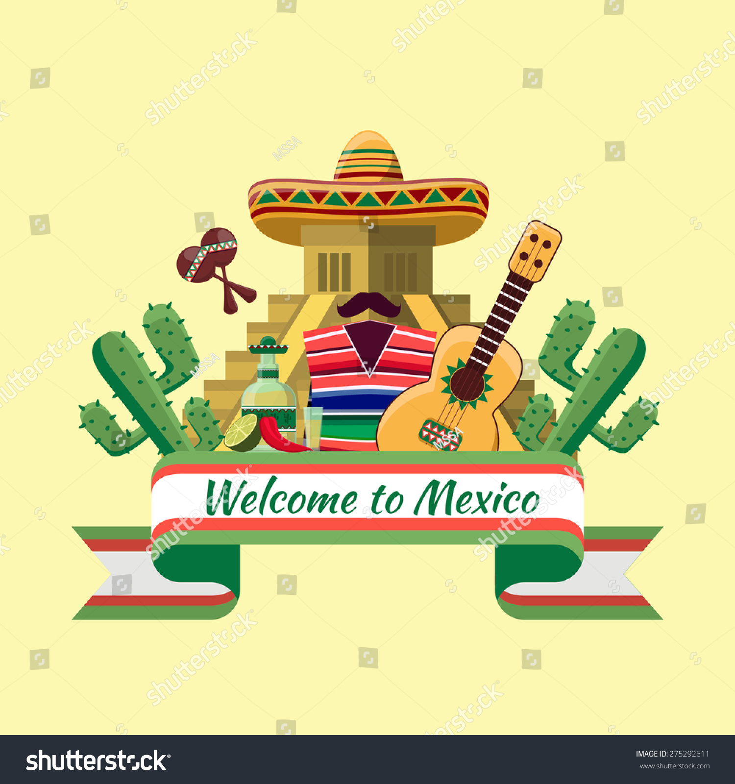 Welcome mexico poster mexican food cactus stock vector for Mexican logos images