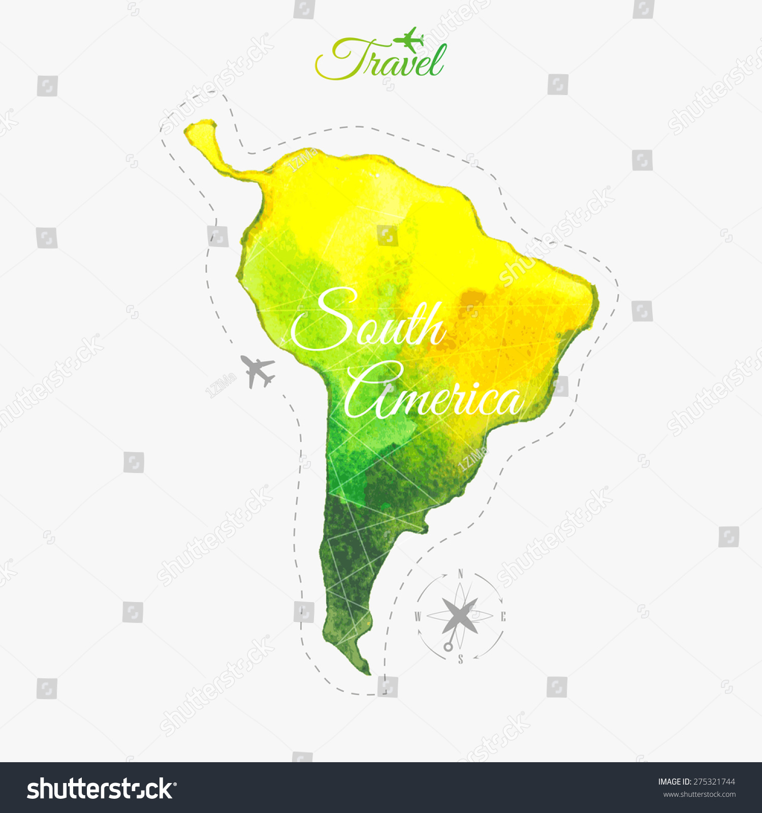 Travel Around The World South America Watercolor Map Stock - United states watercolor map
