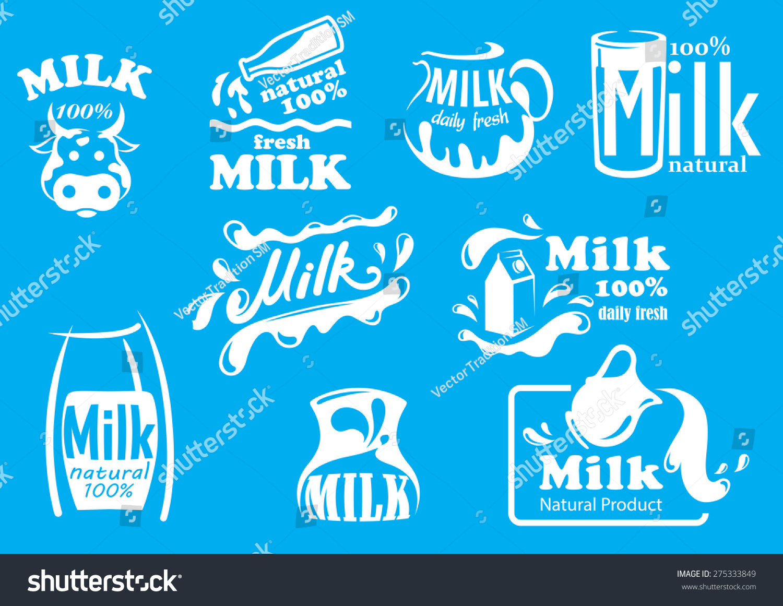 Dairy Milk Products Symbols Fresh Natural Stock Vector 2018