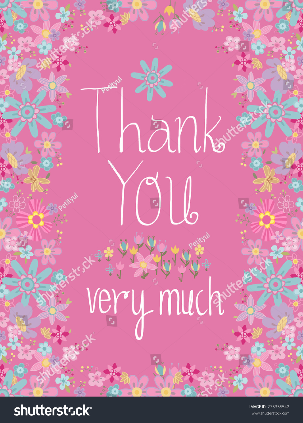 Greeting Card With Thank You Lettering And Flowers And Leaves Around