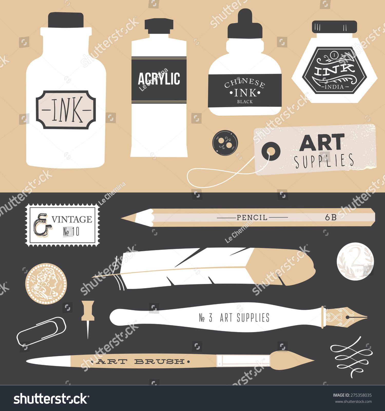 Vintage vector art tools - ink, fountain pe, tag, stamps, brush, pin -  Vector