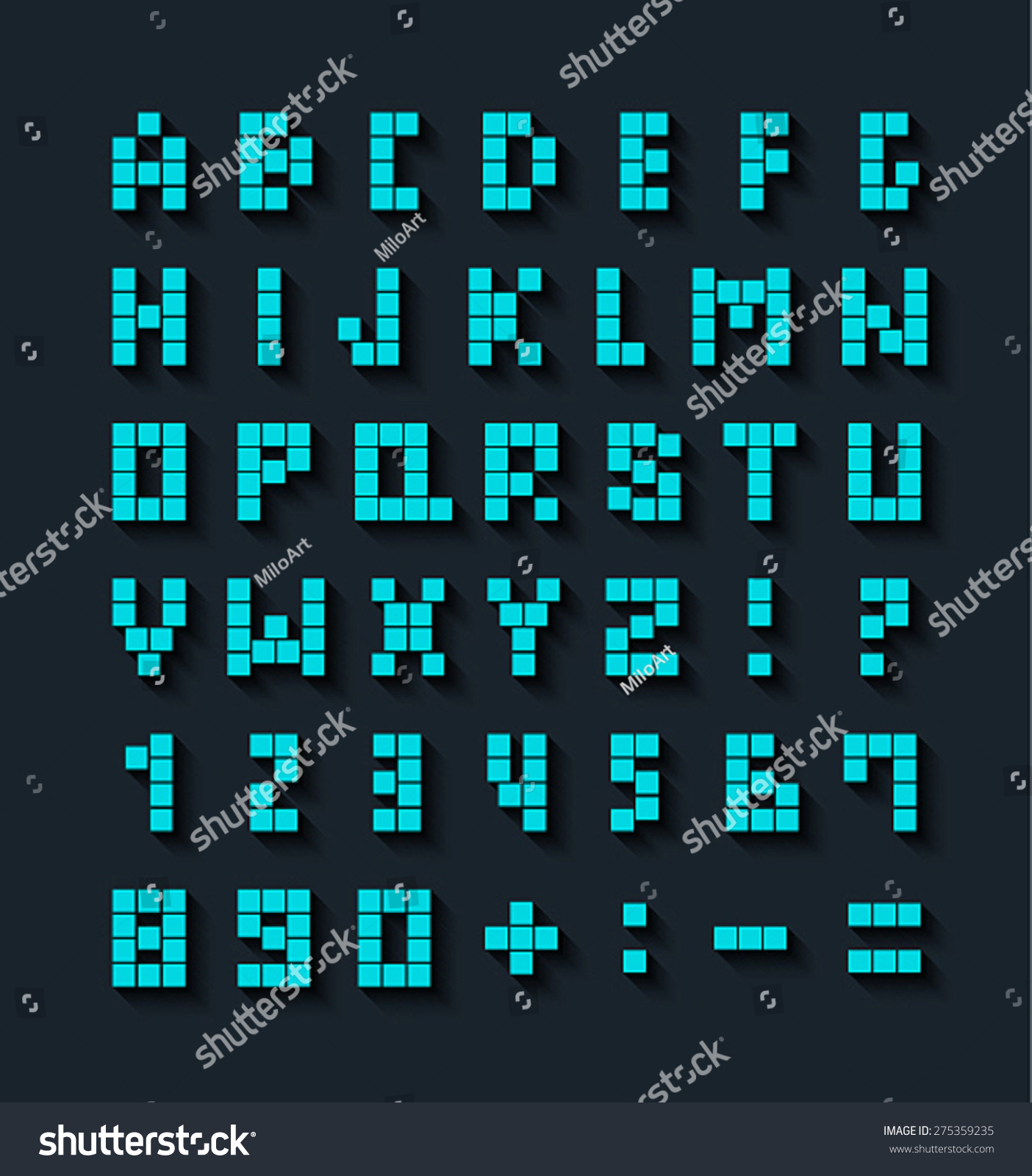 Flat Pixel Font Shadow Effect Vector Stock Vector