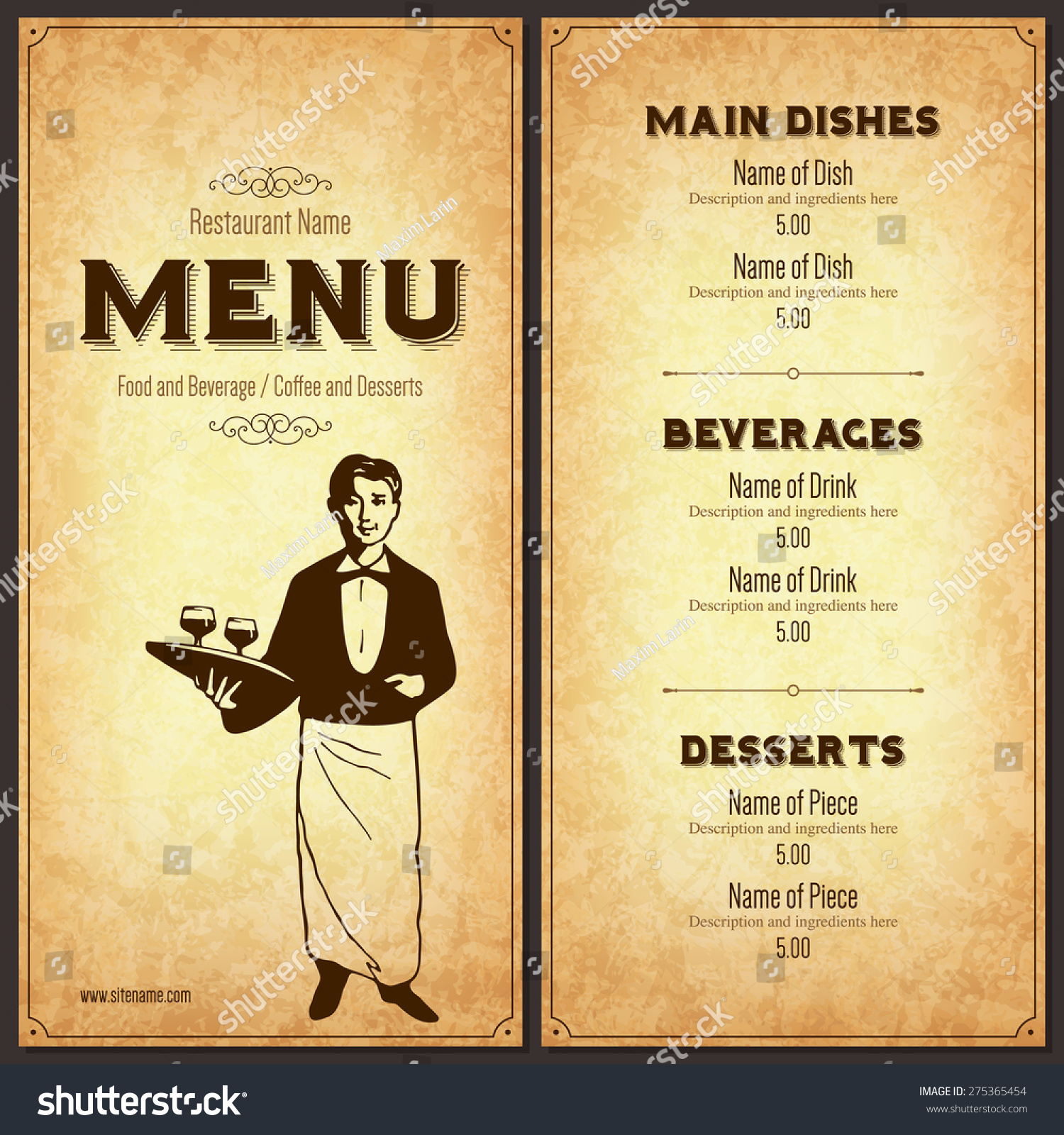 Restaurant Menu Design Vector : Restaurant menu design vector brochure template for