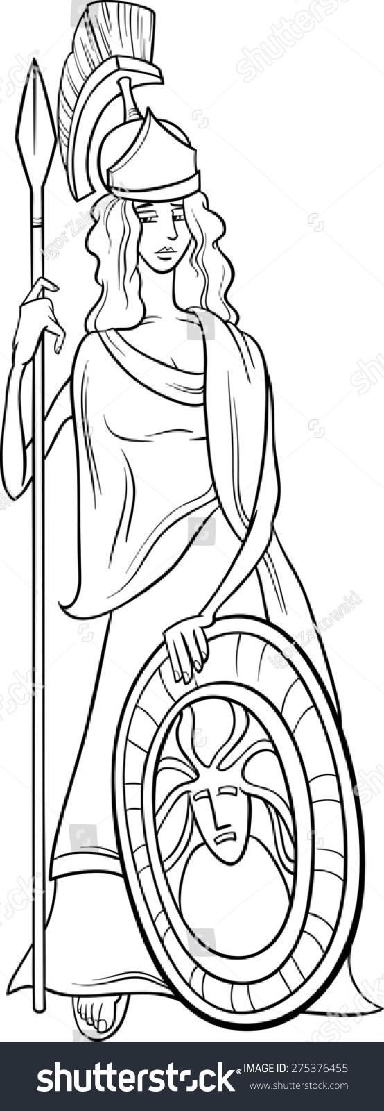 black white cartoon illustration mythological greek stock