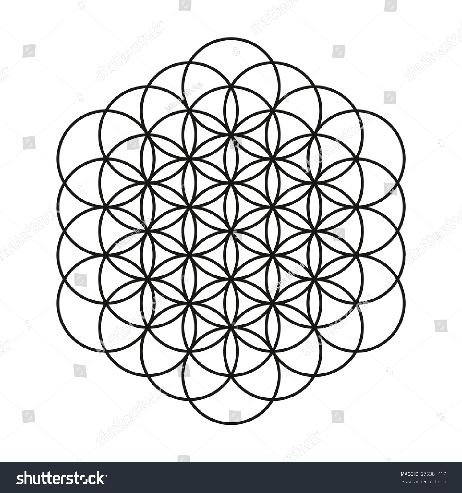 Flower Life Tattoo Design Mandala Circle Stock Vector Shutterstock