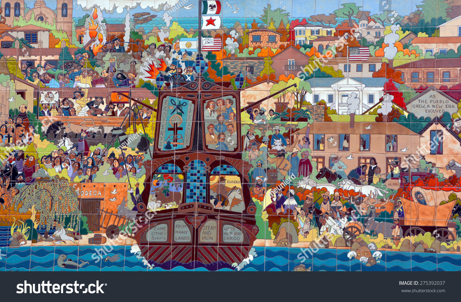 Monterey ca usa 04 12 2015 stock photo 275392037 shutterstock monterey ca usa 04 12 2015 mural is a festive 36 foot ceramic tile doublecrazyfo Images