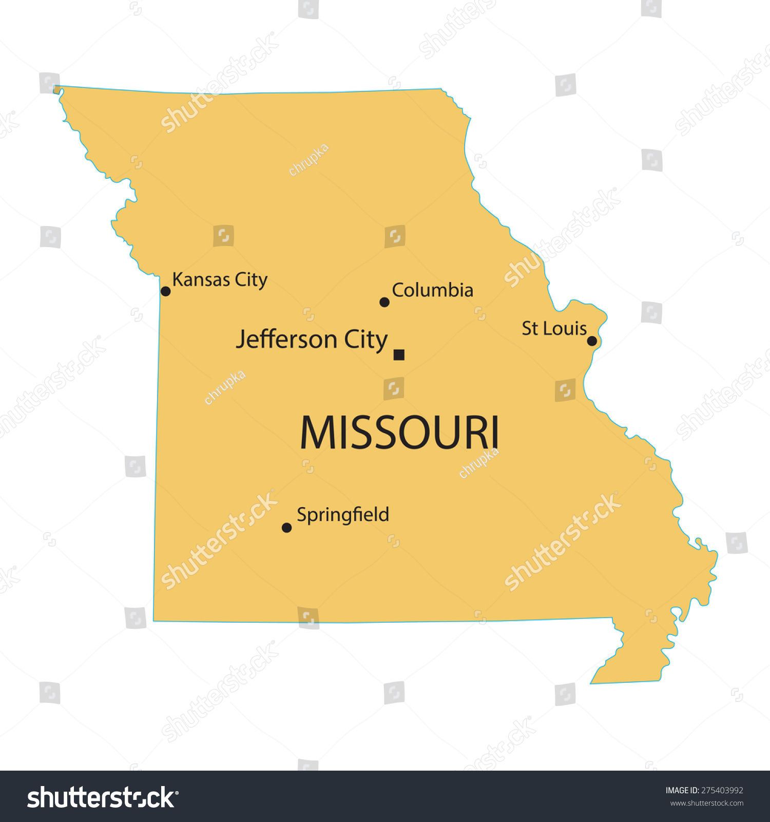Yellow Map Missouri Indication Largest Cities Stock Vector - Map of missouri cities