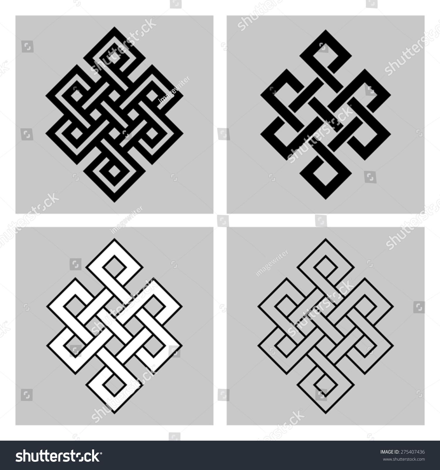 Endless Knot Sacred Symbol Rebirths Concatenation Stock Vector