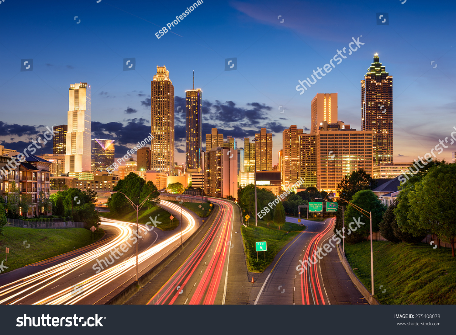 atlanta georgia usa downtown skyline stock photo 275408078 shutterstock. Black Bedroom Furniture Sets. Home Design Ideas