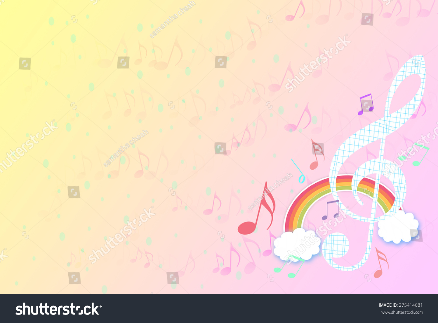 Rainbow Music Background Meaning Colorful Lines And Melody: Music Notes Drawing Colorful Rainbow Over Stock
