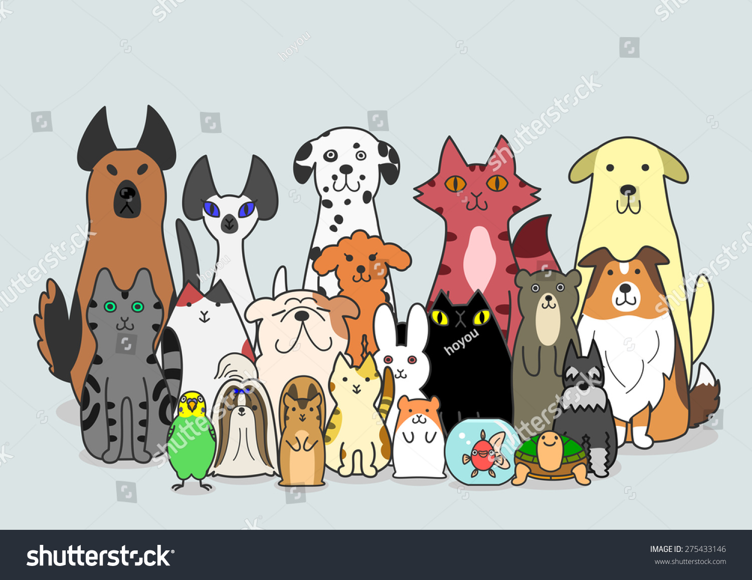 Dogs Cats Small Animals Group Stock Vector 275433146 ...