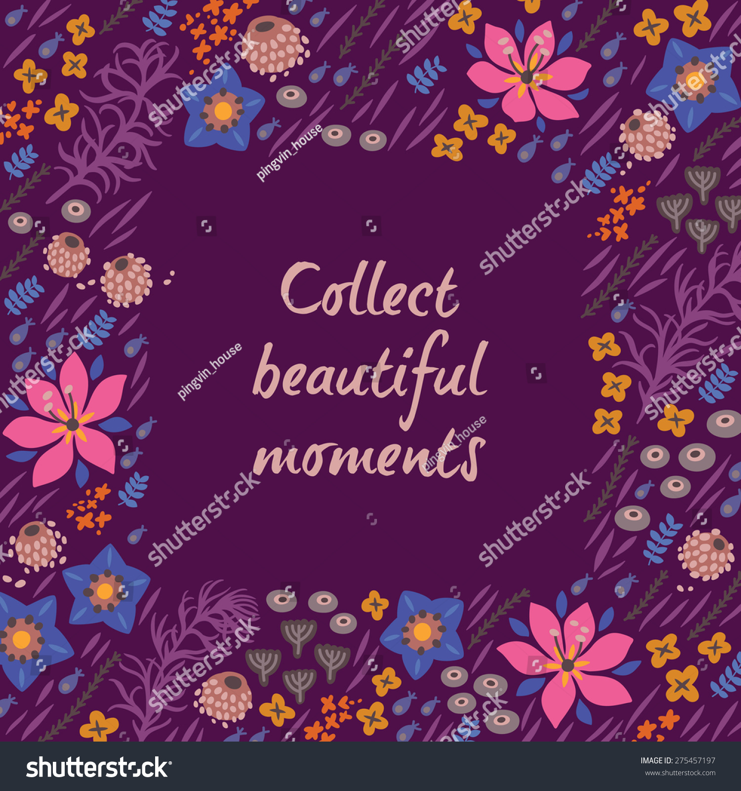 Inspirational Motivational Quotes Background Bright Floral Stock