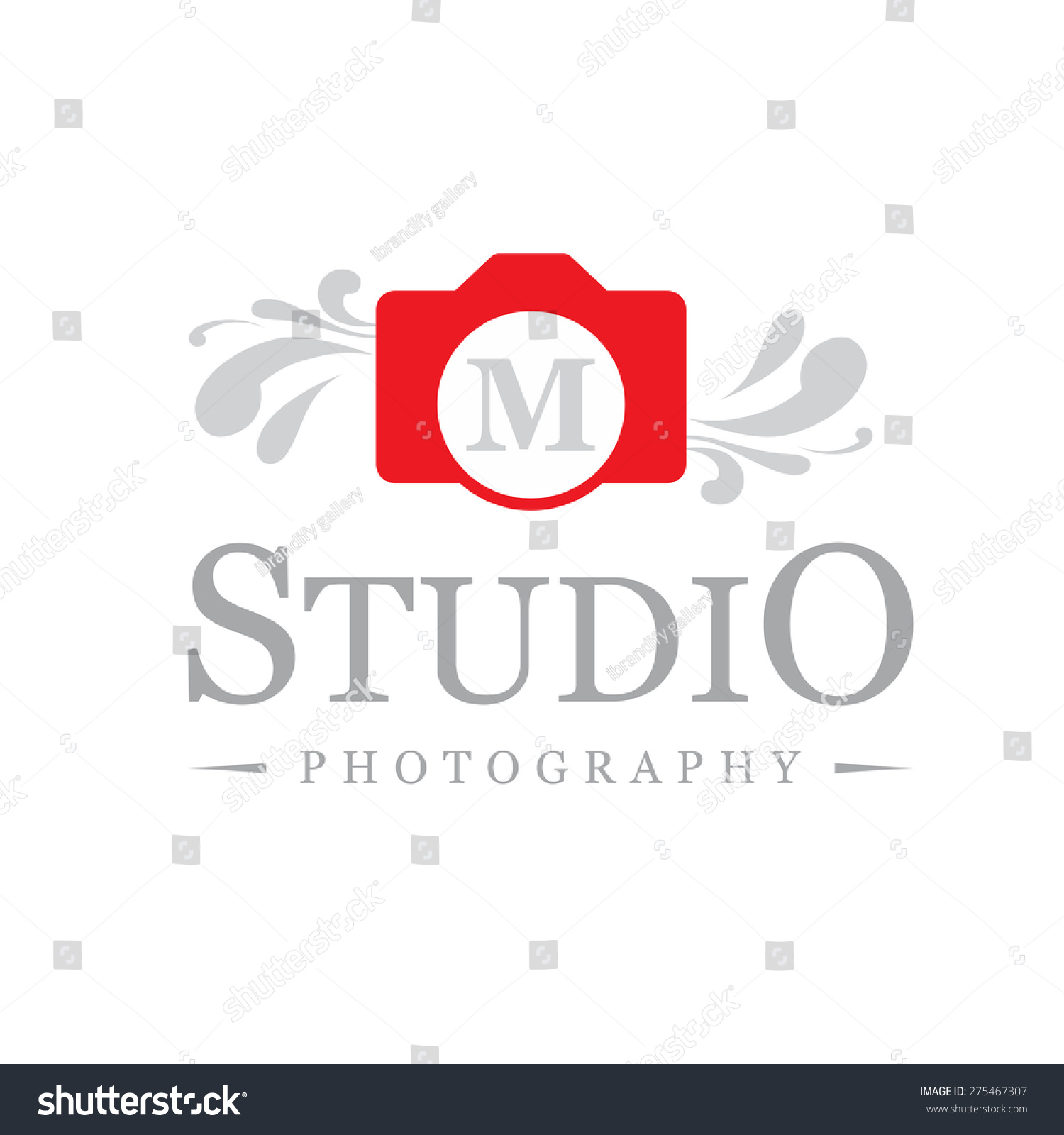 Letter M Logo , Creative Red Camera Symbol Floral ...