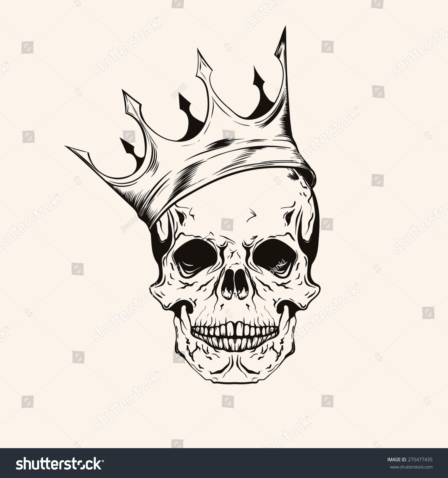 Skull Line Drawing Tattoo : Hand drawn sketch skull crown tattoo stock vector