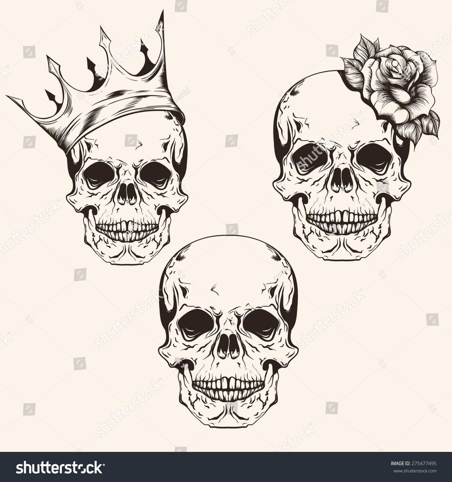 hand drawn set sketch skulls tattoo stock vector royalty free