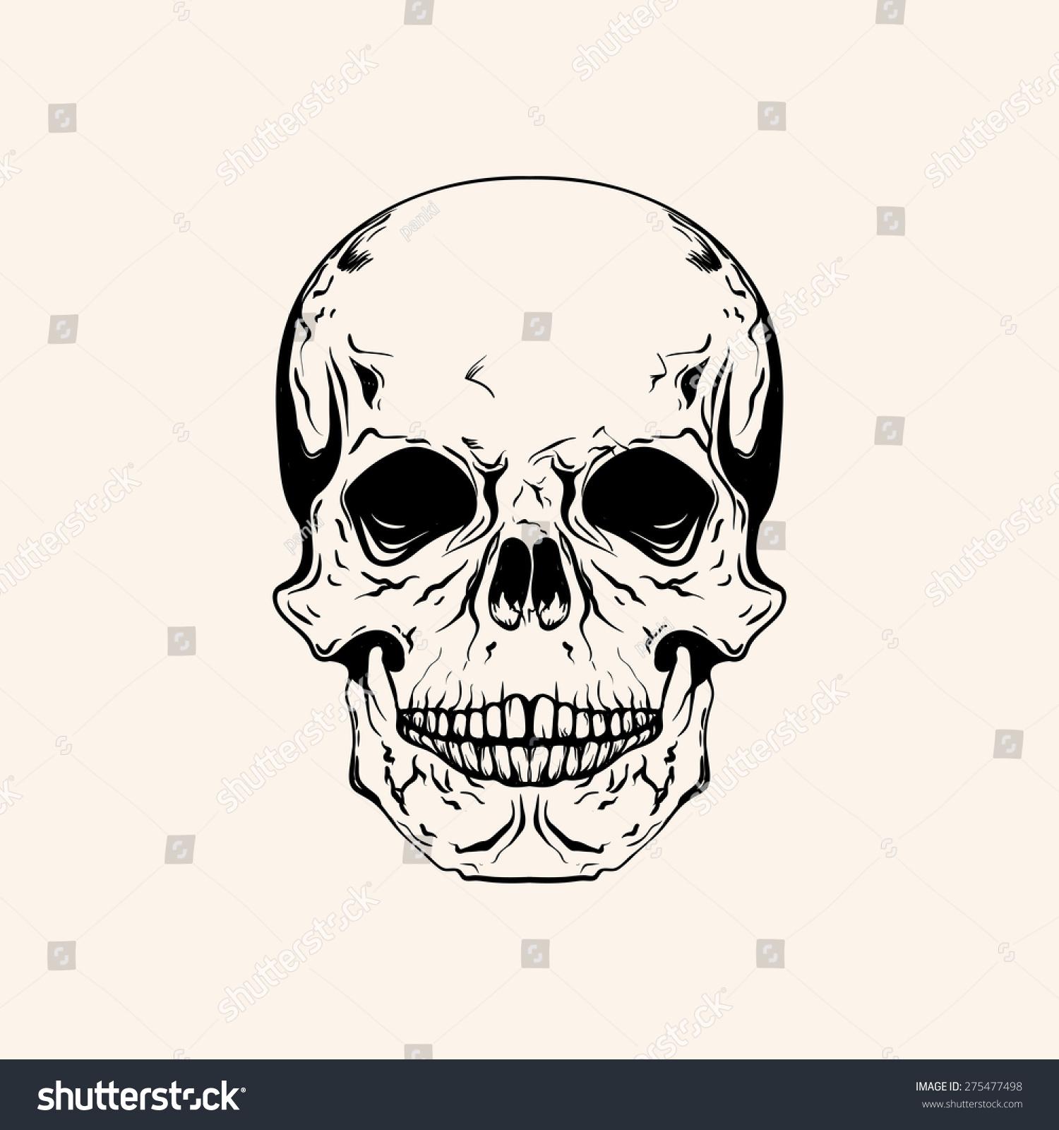 Skull Line Drawing Tattoo : Hand drawn sketch skull tattoo line stock vector