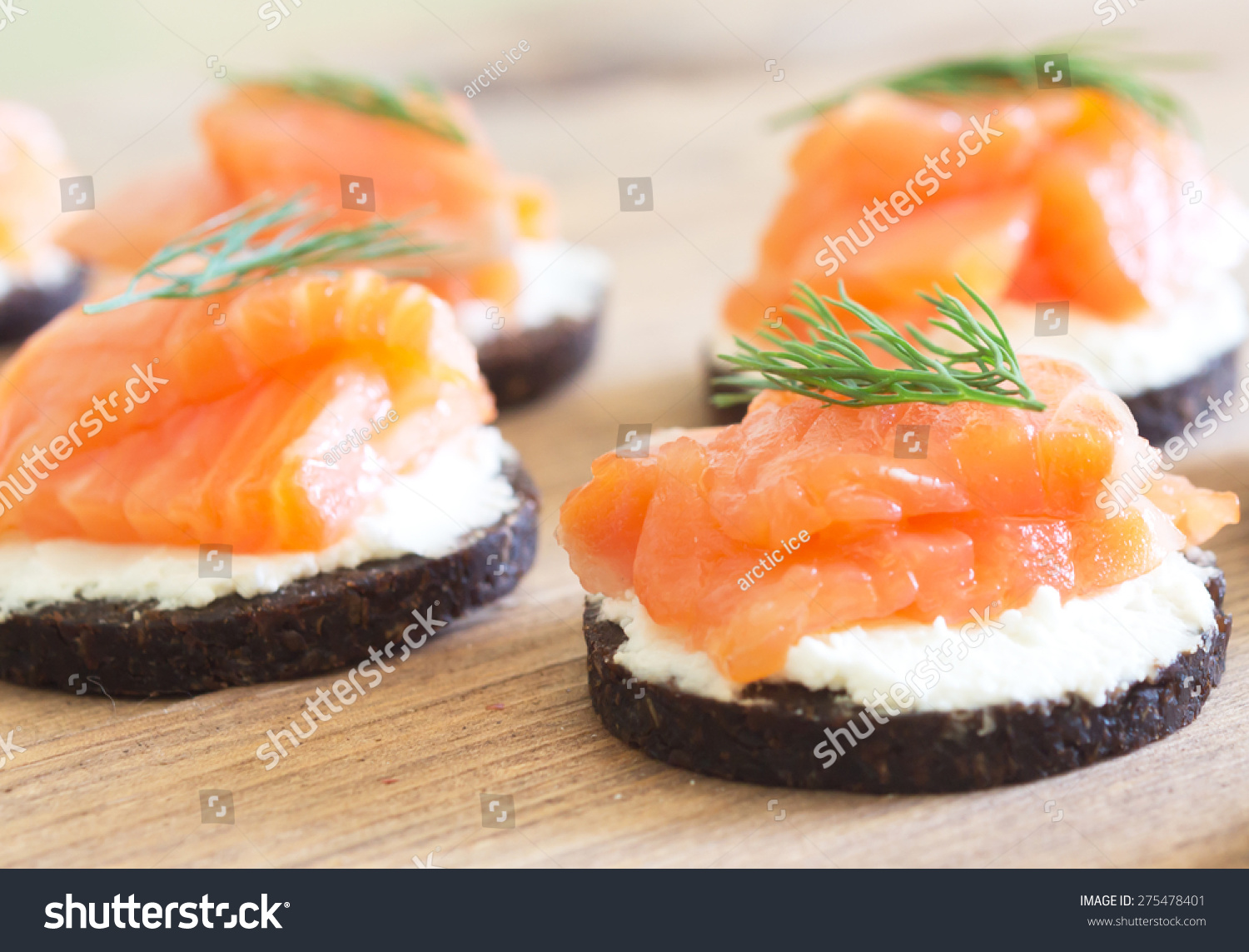 Canapes soft cheese red fish stock photo 275478401 for Fish and cheese