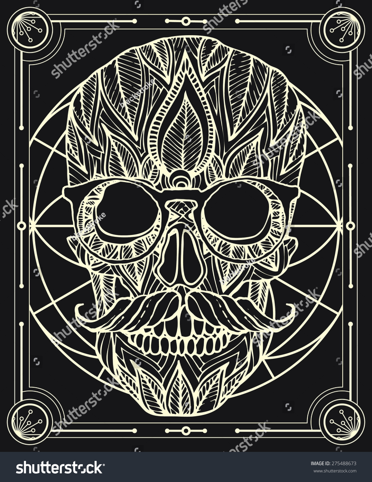 Zentangle Style Hipster Skull Vector Frame Stock Vector 275488673 ...