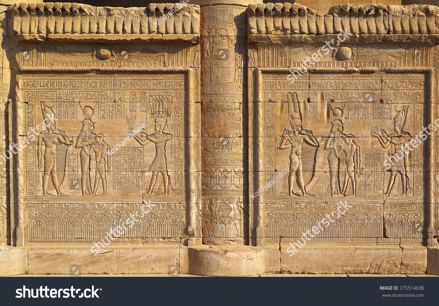 Hieroglyphic carvings on the exterior walls of an ancient