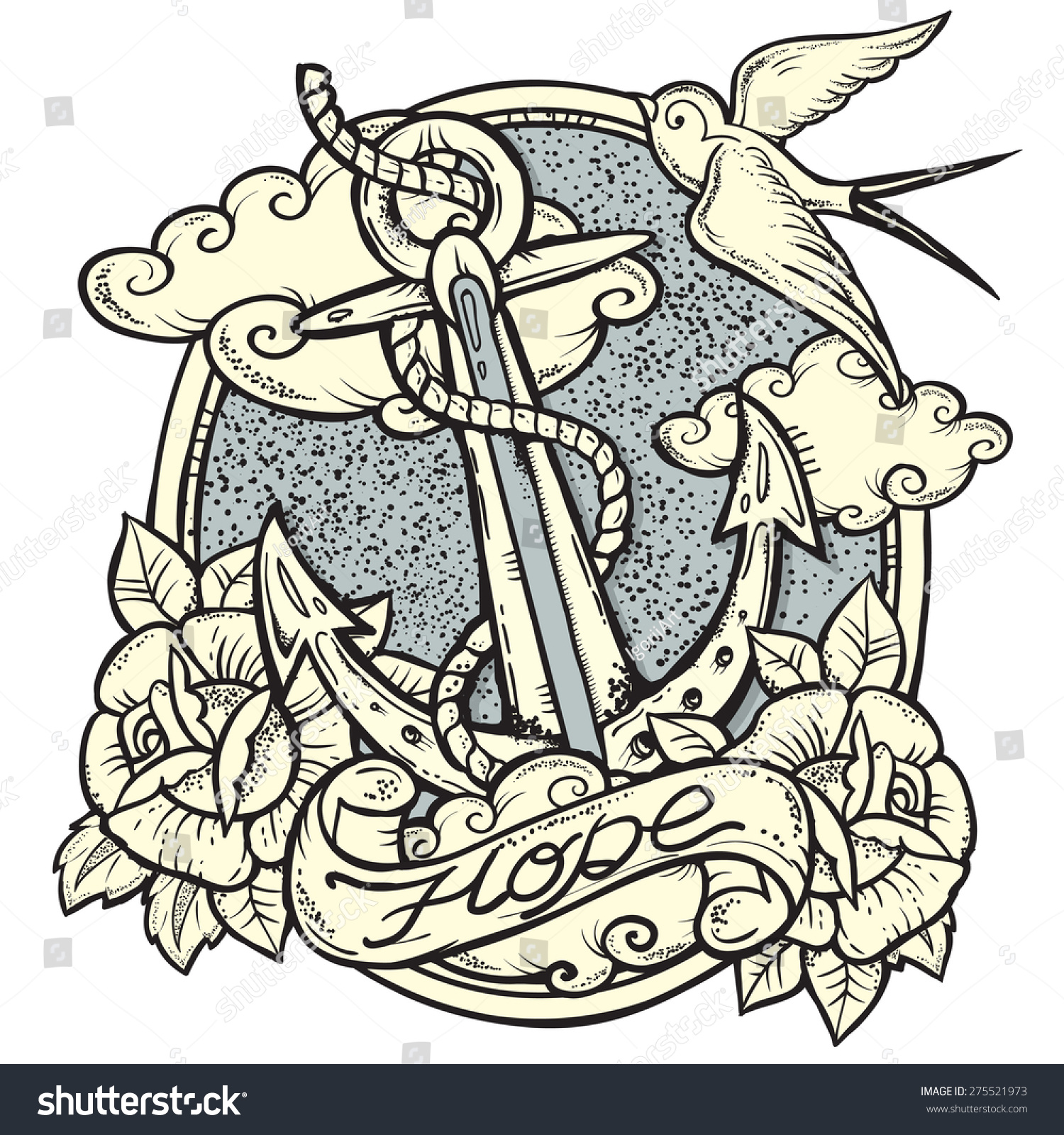 Sailor Tattooart Design New Traditional Tattoo Stock Vector