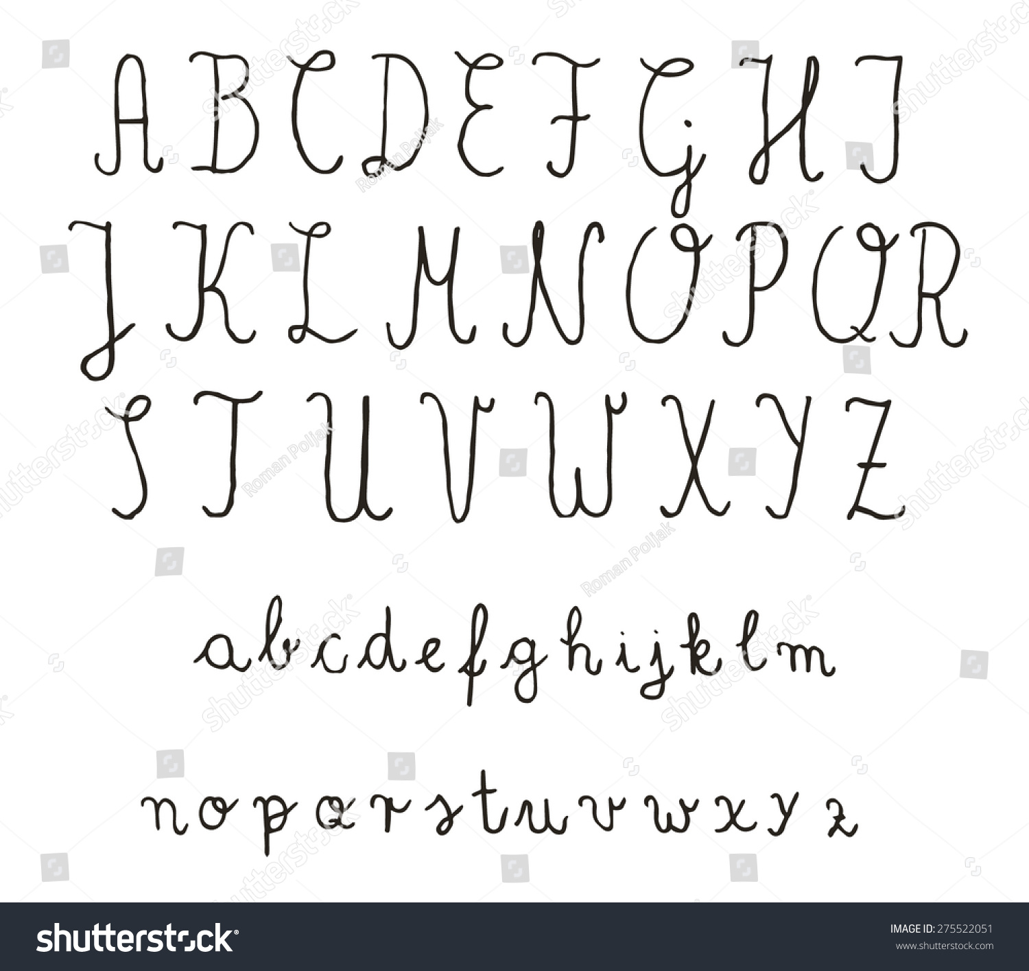 Calligraphy fonts vector alphabet hand drawn letters