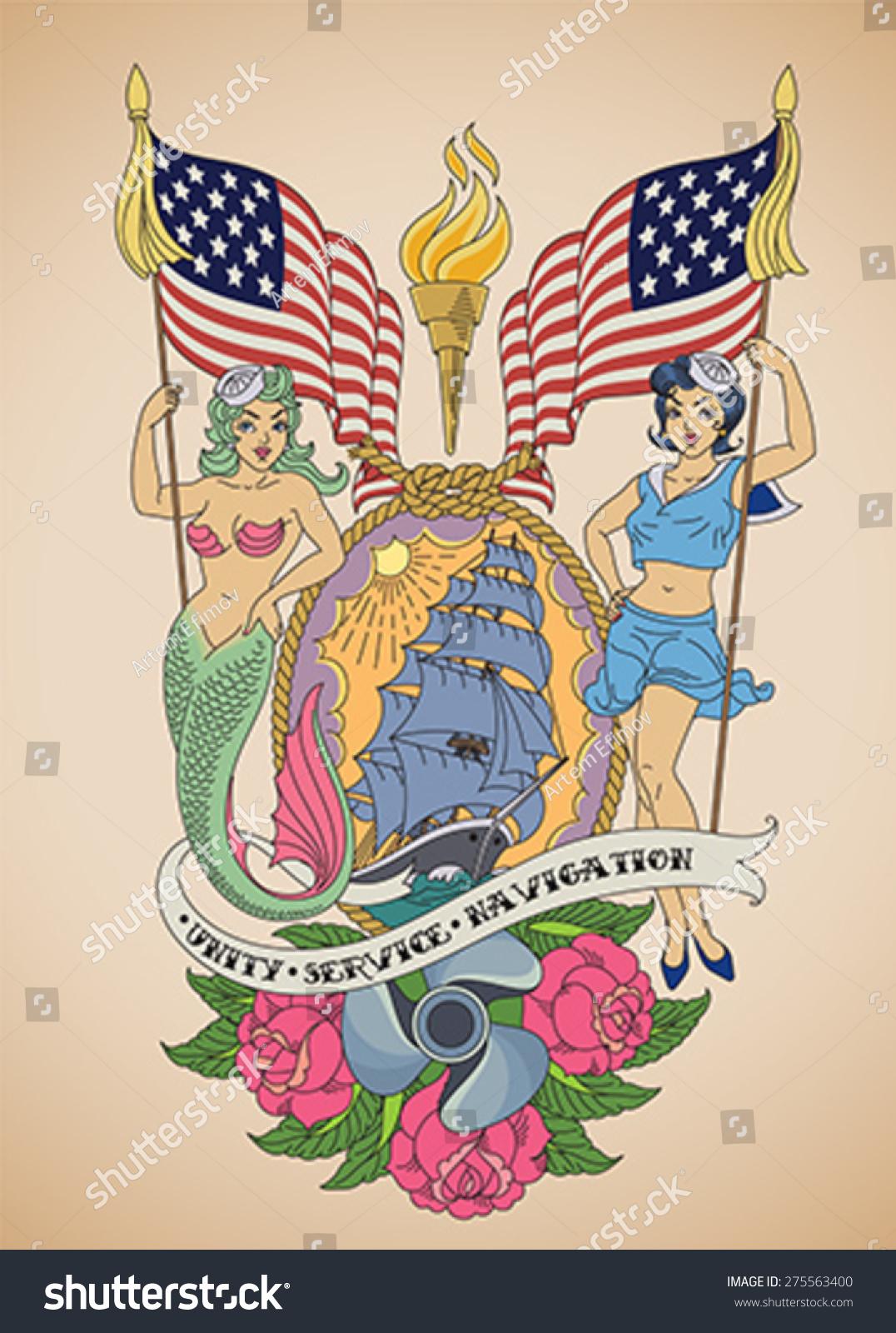 Oldschool us navy tattoo sensual pinup stock vector 275563400 old school us navy tattoo of a sensual pin up sailor and a mermaid buycottarizona