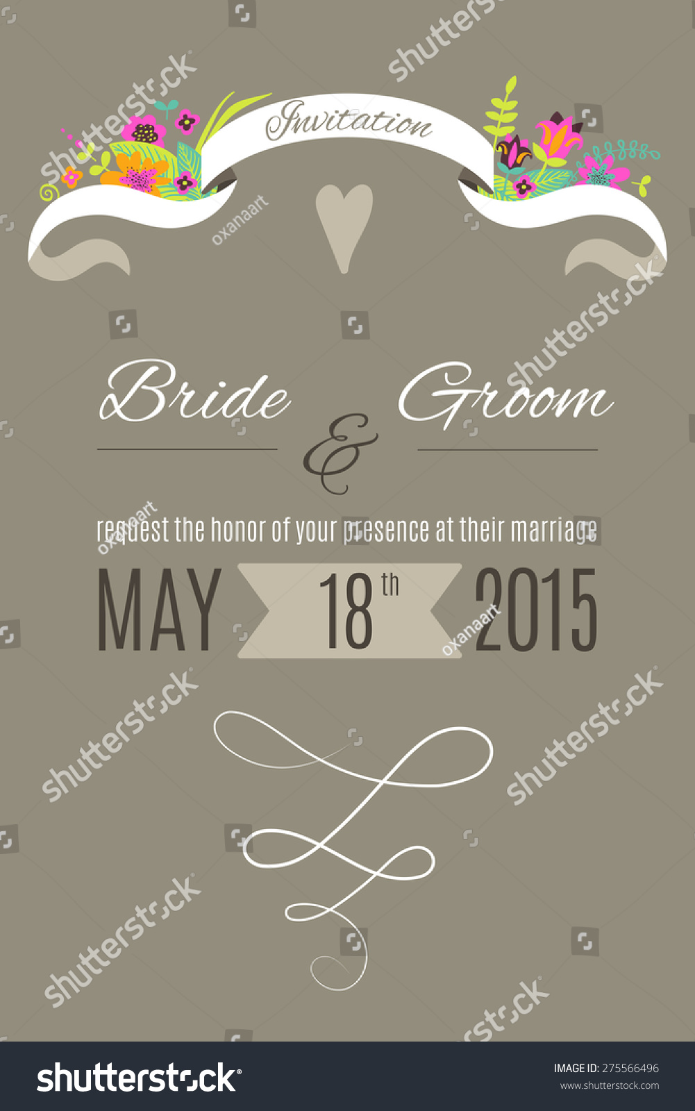 Vector Wedding Invitation Template With Ribbon Flowers
