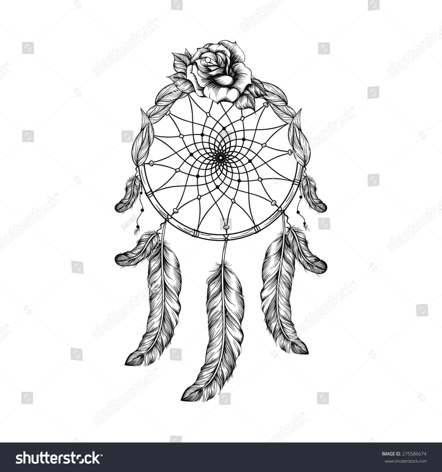 Line Art Styles : Dream catcher with feathers leaves and rose in line art