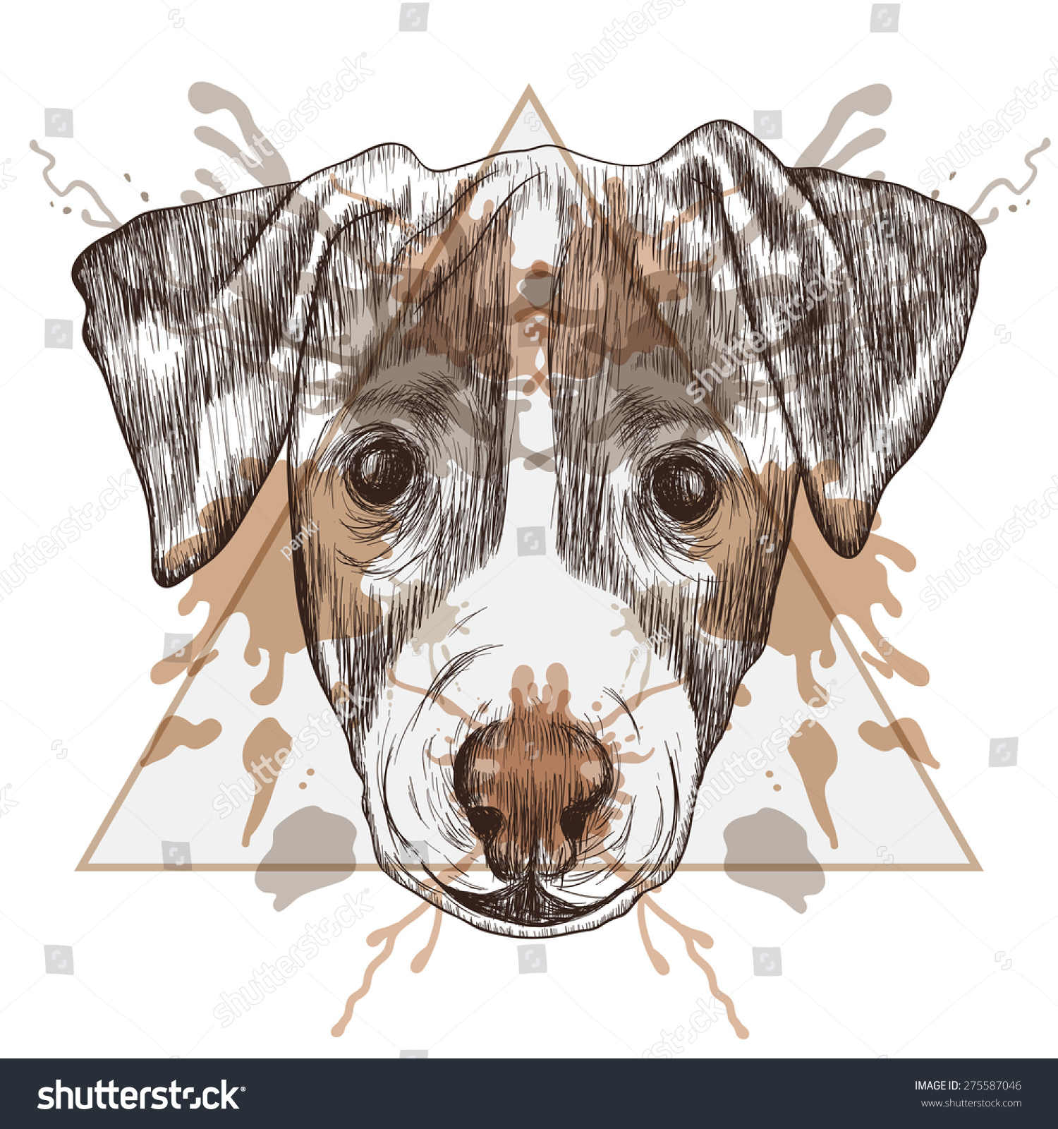 royalty free sketch hipster jack russel terrier face 275587046 stock photo. Black Bedroom Furniture Sets. Home Design Ideas