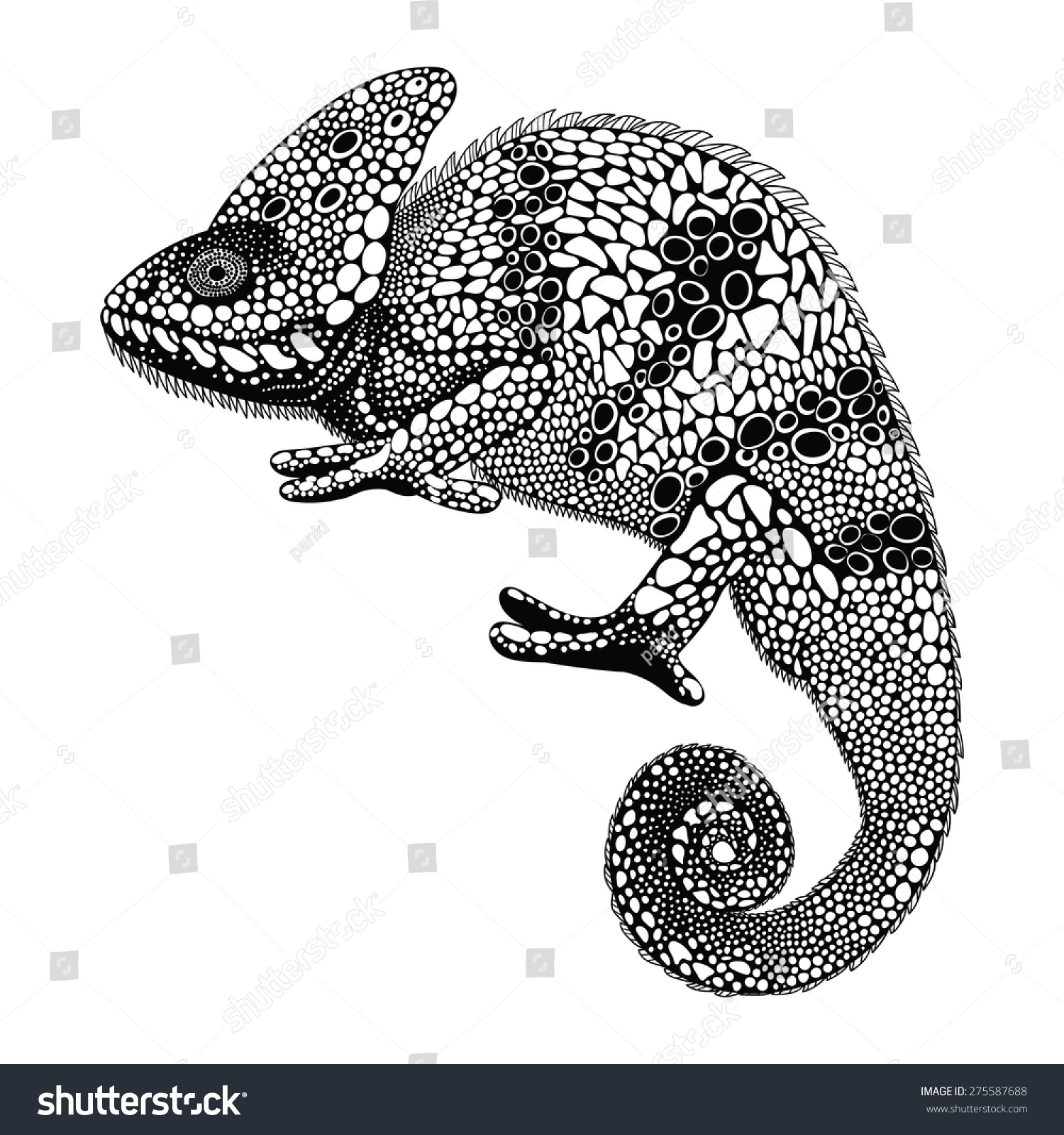Chameleon Arts Tattoo Flash: Zentangle Stylized Chameleon. Hand Drawn Reptile