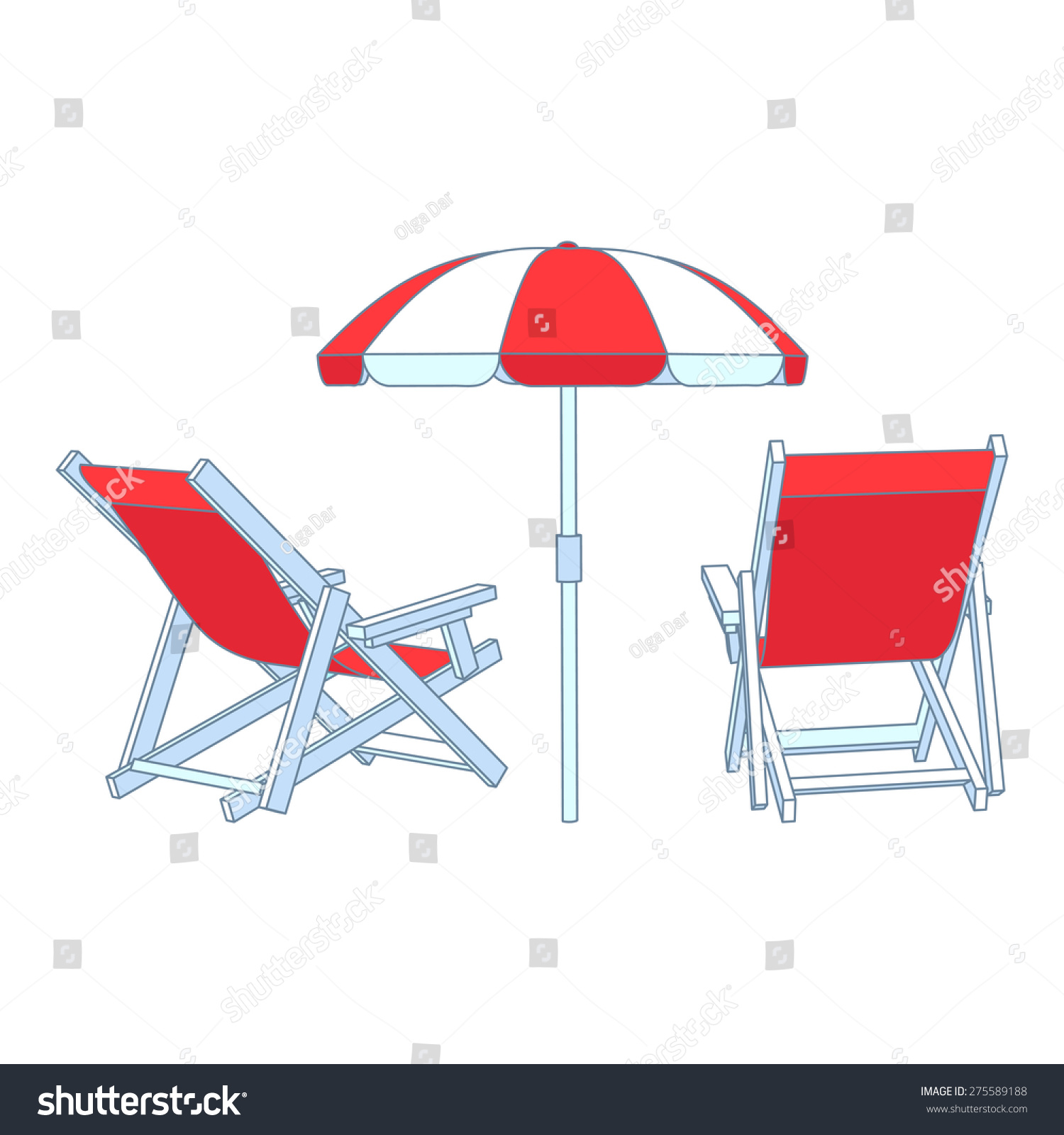 Vector Red Deck Chairs Under Beach Stock Vector
