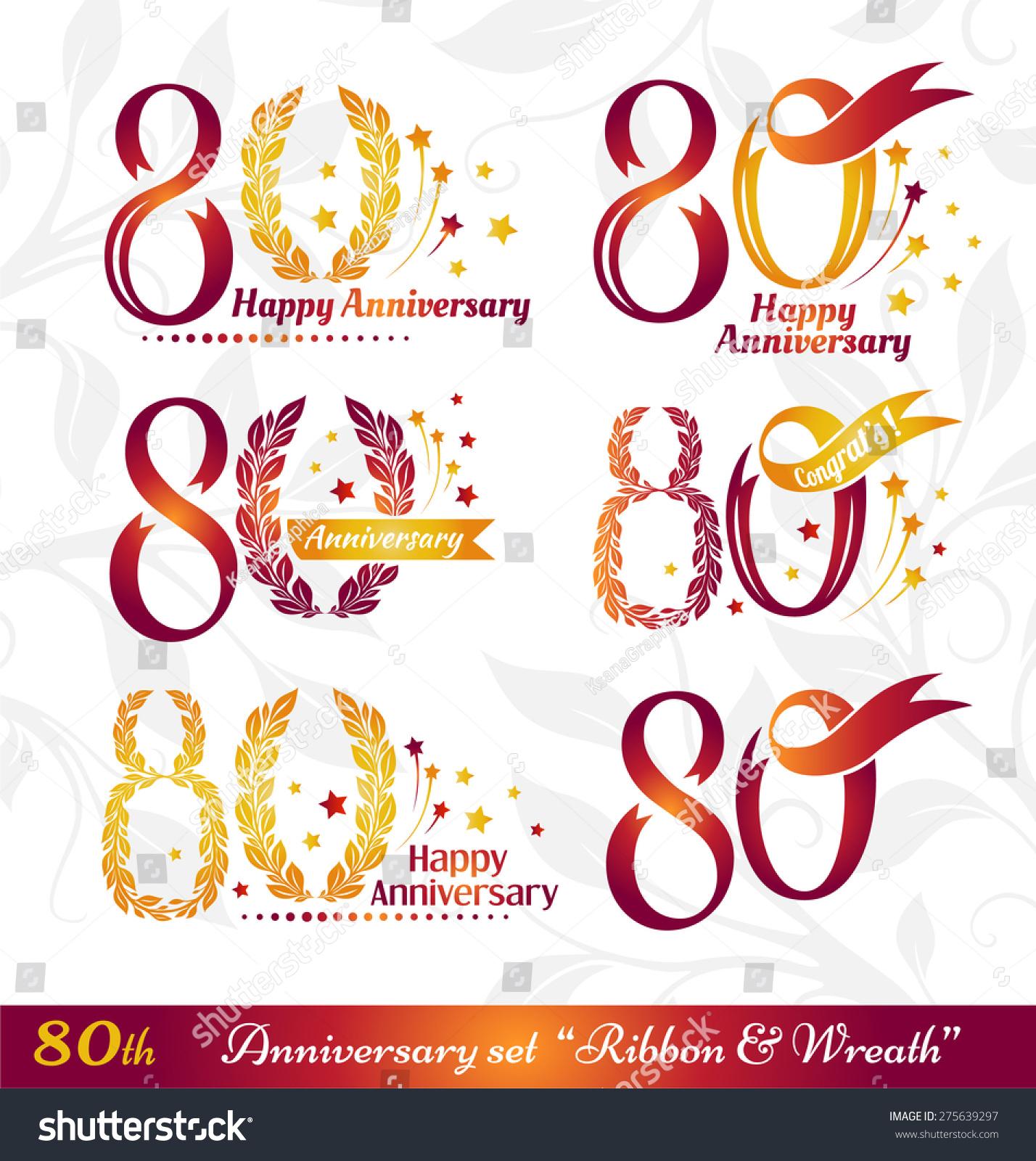 80th Anniversary Emblems Set Celebration Icons Stock ...
