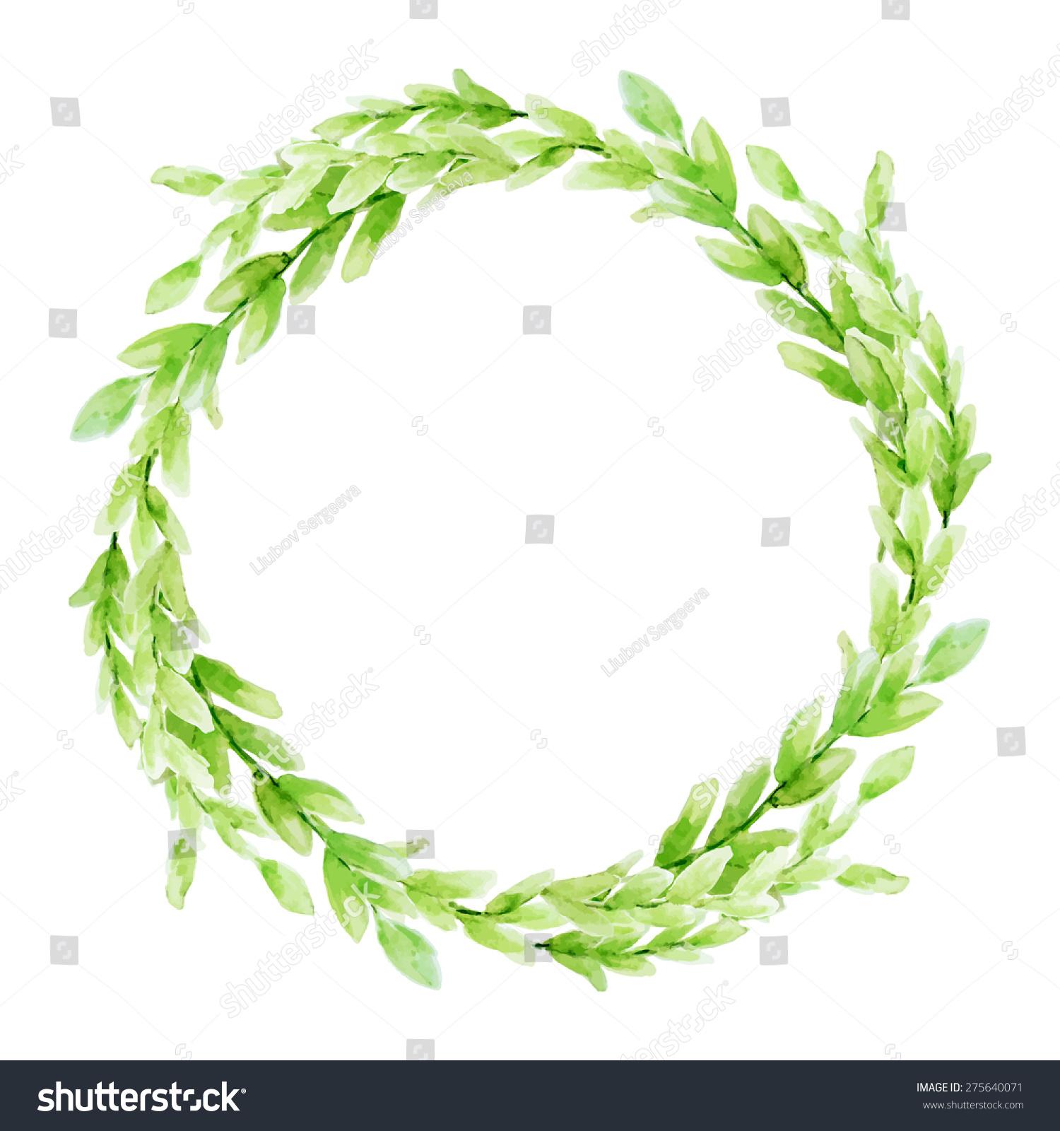 vector leaf watercolor wreath template wedding stock vector royalty