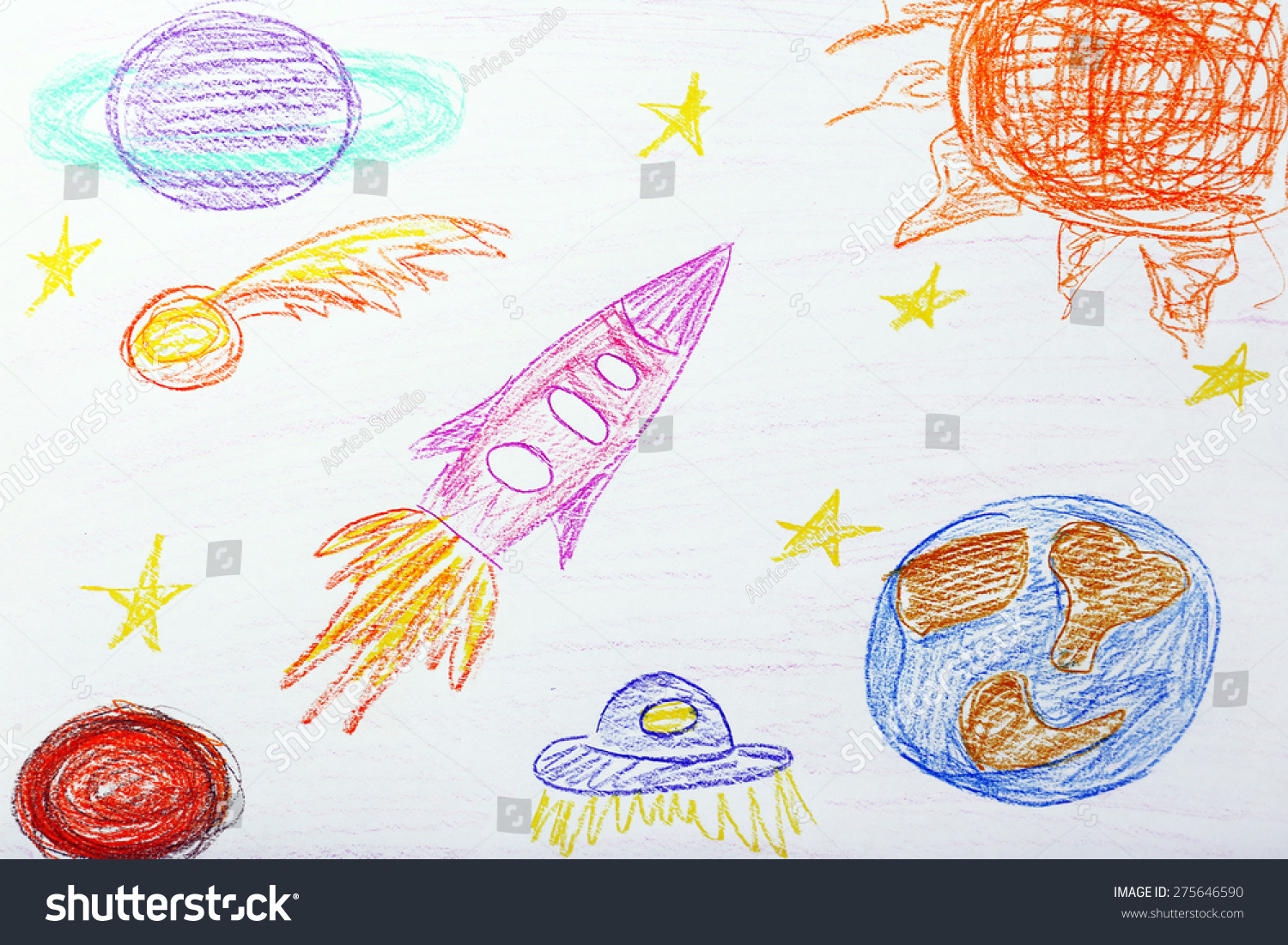 Kids Drawing On White Sheet Paper Stock Photo (Edit Now) 275646590 ...