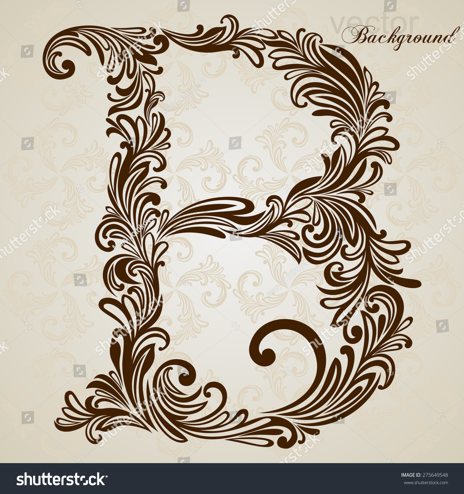 Calligraphic font vintage initials letter b stock vector royalty