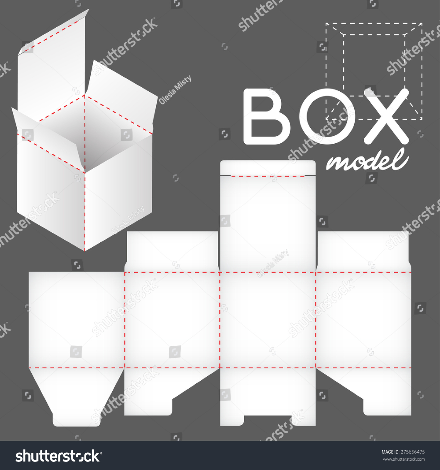 White Box Model Package Template Stock Vector (2018) 275656475 ...