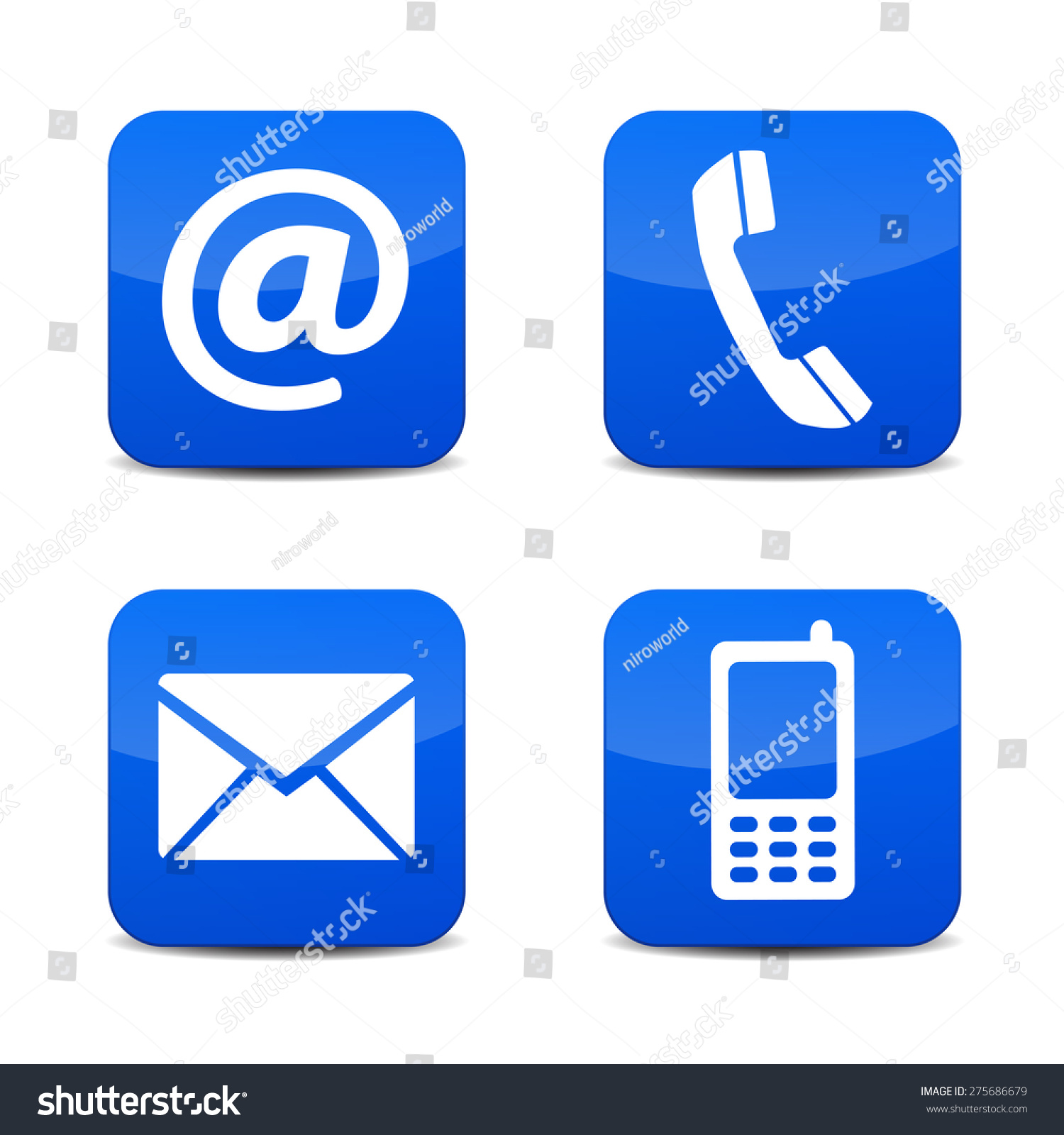 Web Contact Us Icons Telephone Email Stock Vector ...