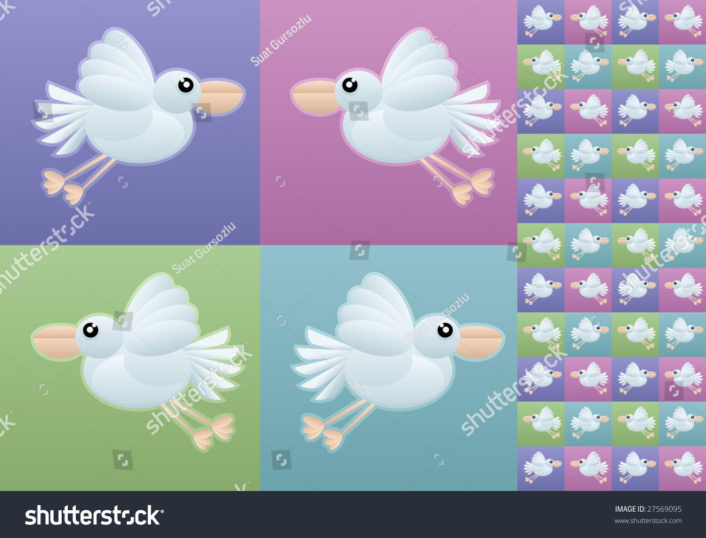 Seamless Bird Wallpaper Vector Illustration Stock Vector