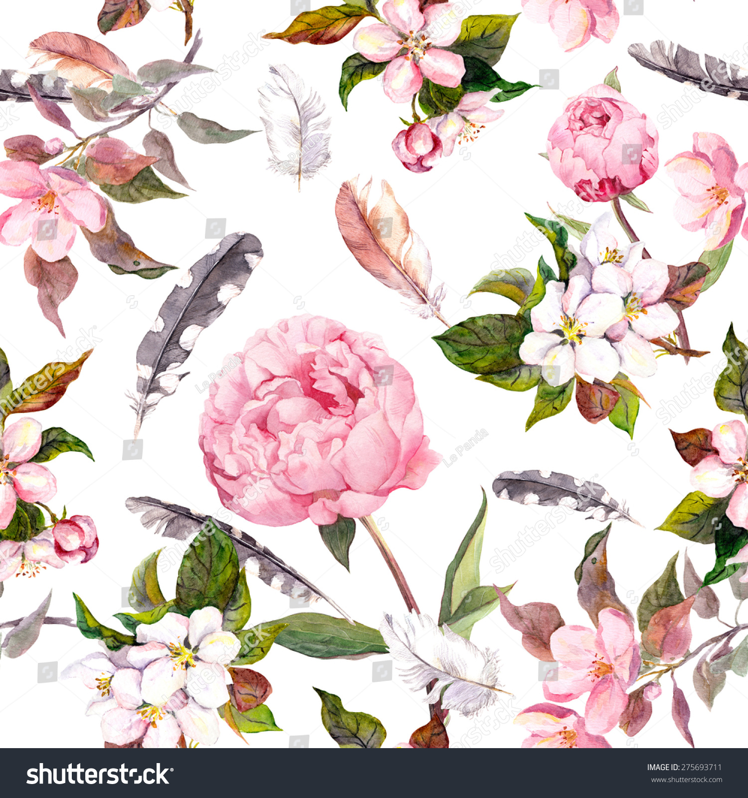 Peony flowers sakura feathers Vintage seamless floral pattern Watercolor