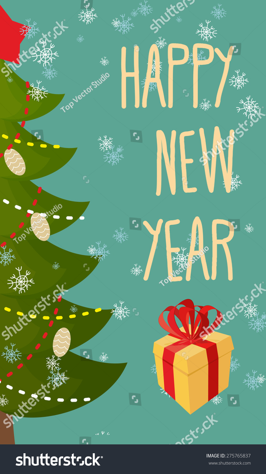 happy new year greeting card christmas tree and gift